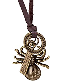 Young & Forever Men-Tastic Collection Brown Leather Spider Pendant Necklace For Men / Women / Boys / Girls N666