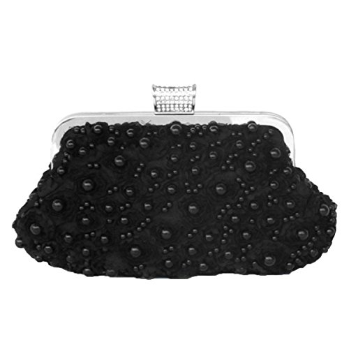 Damen Damen Handgefertigte Perlen Party Party Tasche Black