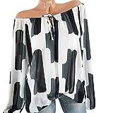 Bluse Damen Pullover Frauen Beiläufige Kalte Schulter Oberteile Unregelmäßigen Shirt Drucken Bluseshirt Langen Hülsen Oberseiten Hemd Bluse,ABsoar