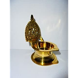 Artcollectibles India 3'' Brass Kamakshi Diya For Diwali, Oil Lamp Diwali Lighting For Puja Prayer Hindu Prayer Temple