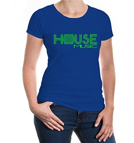 buXsbaum® Girlie T-Shirt House Music Royal-Neongreen