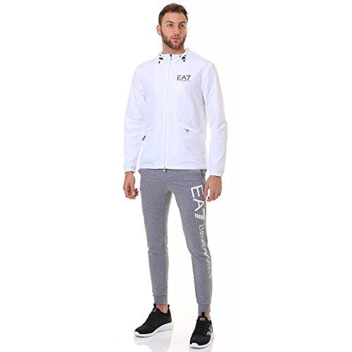 Emporio Armani EA7 giubbotto giubbino uomo cappuccio bianco Bianco