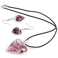 Skyllc® Heart Purple Lampwork Glass Pendant Necklace Earrings CHIC