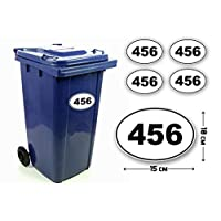 Pack of 4 Personalised Custom House Number Digit and Letter Wheelie Bin Stickers Waterproof Labels Oval Shape Decals (150 x 100 mm)#PBN03 Stickers Limited