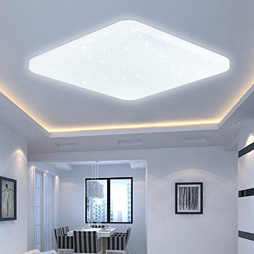 Vingo® LED-Deckenleuchte, Warmweiß, Starlight-Effekt, Wohnzimmer, Badezimmer, modern, leicht 60w Blanc Froid Square