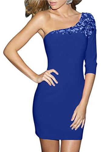 Ivydressing Damen Reizvoll Ein-Aermel Etui-Linie Kurz Chiffon Promkleid Festkleid Abendkleid Royalblau