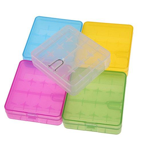 Kanggest 5 Pcs Akkubox Batteriebox Aufbewahrung Schutzhülle Case für AAA und AA Akkus und Batterien (ohne Akkus)