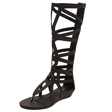 Zormey Damen Sandalen Sommer Gladiator Pu-Kleid Mit Flachem Absatz Reißverschluss US5.5 / EU36 / UK3.5 / CN35