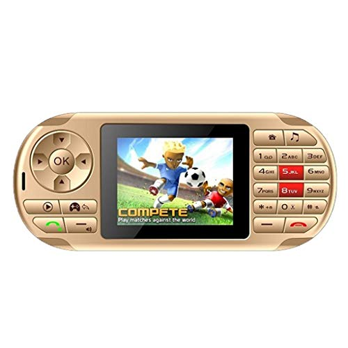 FBGood Neueste!!! Kreative Handheld Spielekonsole, Mehrzweck Game Console Aussehen Taschenlampe Spiel Handy GPRS Dual SIM Karte, Errichtet in 84 Spiel Geburtstags Geschenk für Freunde (Gold) Gprs-handy