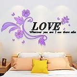 3D stereoskopische Wandaufkleber, Acryl Schlafzimmer, Nacht Dekoration, Wohnzimmer Sofa Hintergrund Wand Layout, romantische Hochzeit Raum Layout, 001 Rattan - linke Version - schwarz Wort Licht lila Blume, in