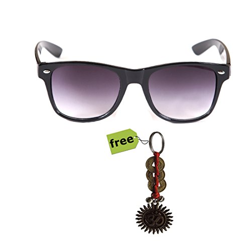 Elligator Trendy Black Wayfarer Sunglass With Stylish Om Key Chain Combo (Set Of 2)  available at amazon for Rs.179