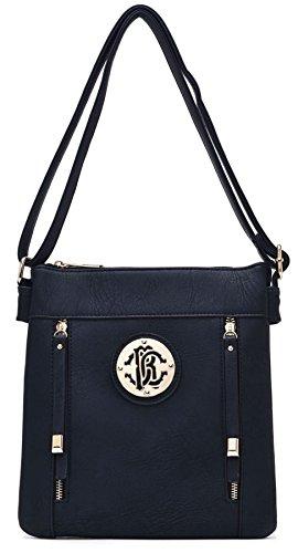 Big Handbag Shop due tasche frontali con Zip lunga Pulls Messenger Cross Body Bag Deep Navy (NL386)