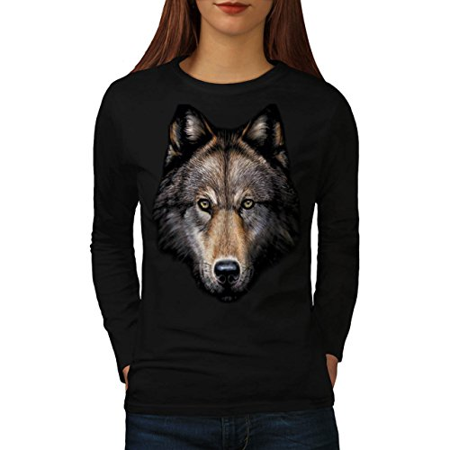 wild-wolf-animal-life-nature-women-new-black-l-long-sleeve-t-shirt-wellcoda