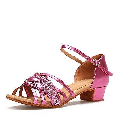 Wuyulunbi@ Kids Kids scarpe da ballo Paillette simil sandalo fibbia interni Cuban Heel Fuchsia Gold 1 US3.5 / EU35 / UK2.5Big Kids