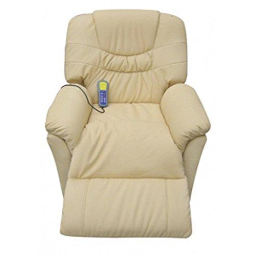 vida XL Massagesessel Fernsehsessel Relaxsessel Massage+Heizung TV Sessel CREME - 3
