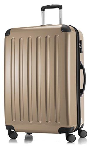 HAUPTSTADTKOFFER - Alex -  4 Doppel-Rollen Großer Hartschalen-Koffer Koffer Trolley Rollkoffer Reisekoffer, TSA, 75 cm, 119 Liter, Champagner