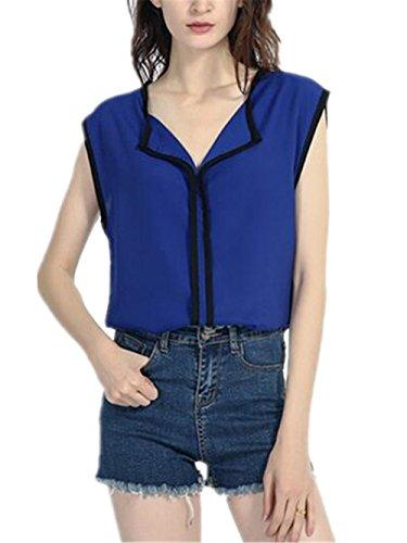 AILIENT Donna Camicie Senza Maniche Elegante Maglietta Blusa T-Shirt Sexy V-Collo Camicetta Bluse Dark Green