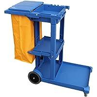 Carro de limpieza Profesional Plástico con tres bandejas con saco de vinilo de 100 Lt. más tapadera. Medidas 120x52x96 cm. (L x F x A)