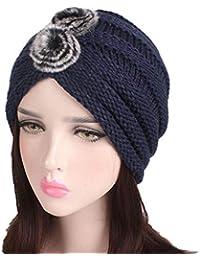 ZLULU Sombreros Y Gorras Sombrero De Mujer De Invierno Gorro De Color Sólido  Tejido A Mano. Gorro De Turbante… 7cefeb1b6ac