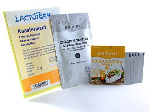 Biowin Présure Poudre 5g Chlorure de Calcium 10g + Lactoferm Ferment Fromage 5g