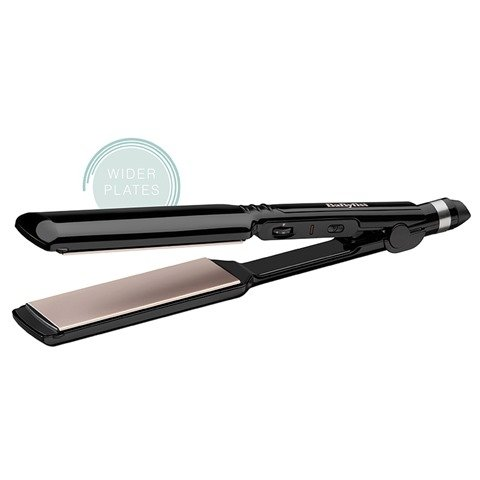 salon smoothness - 41efjKccyKL - BaByliss 2179U Straight Control Hair Straightener Salon smoothness fast results 235°C Max temperature Variable temperature settings Wide plates – Black