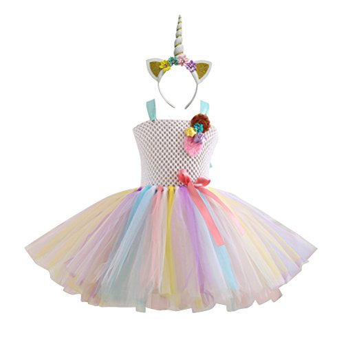 BESTOYARD Vestido de Unicornio Rainbow Tutu para Niña con Diadema Disfraz de Lujo para Disfraz de Baile Disfraz de Baile de Navidad Unicorn Headwear y Rainbow Dress Set - 4-5Y (Blanco)