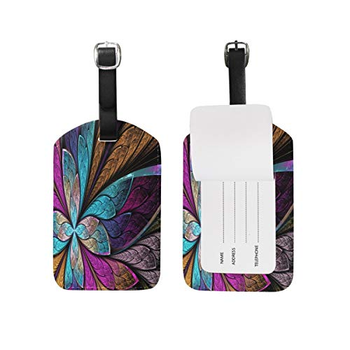 Beautiful Stained Glass Flower Butterfly Luggage Tag for Baggage Suitcase Bag Travel Label Leather 2 Pieces Set - Butterfly Stained Glass