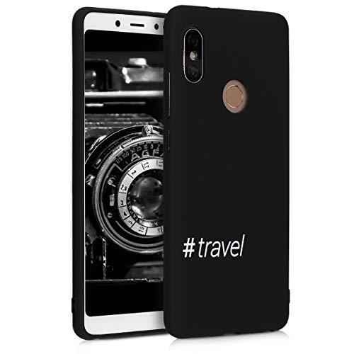 kwmobile Funda para Xiaomi Redmi Note 5 (Global Version) / Note 5 Pro - Carcasa de [TPU] para móvil y diseño Hashtag Travel en [Blanco Negro]