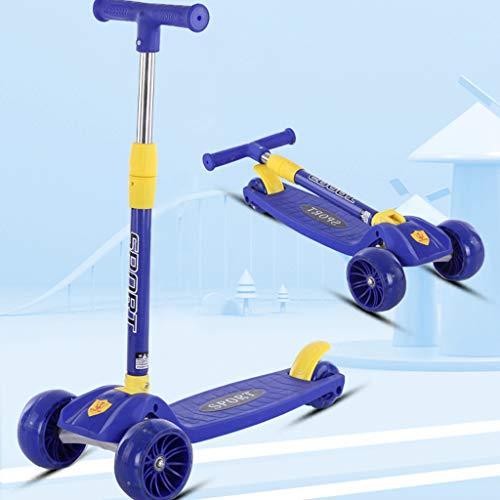 LXMJ Kinderroller für Anfänger 1-6-8 Jahre alt Flash PU Wheel Scooter EIN-Knopf-Faltung, Leichtbau 4 Höhenverstellungen Toy Gift Blue