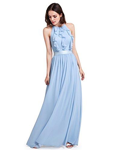 Ever Pretty Neckholder Rüschen Damen justierbares Brautjungfern Kleid 42 Größe Blau (Kleider Brautjungfer)