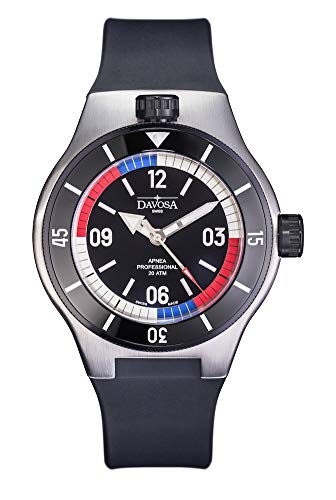 Davosa Automatic Apnea Diver Stainless Steel Blue Red Face Wrist Watch