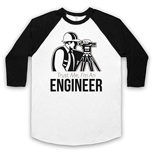 Trust Me I'm An Engineer Funny Work Slogan 3/4 Hulse Retro Baseball T-Shirt Weis & Schwarz