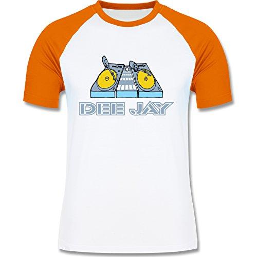 DJ - Discjockey - Discjockey - zweifarbiges Baseballshirt für Männer Weiß/Orange