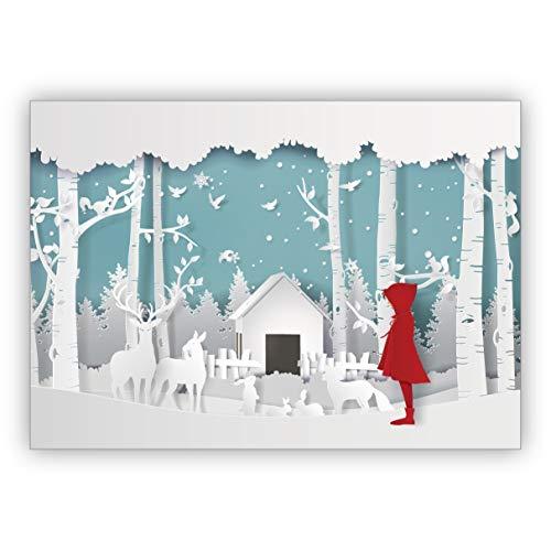 1 Süße Weihnachtskarte in Papercut Optik (NICHT 3D) mit Rotkäppchen vor Winter Krippe • als schöne Grusskarte zu Weihnachten zum Jahres-Ende für Familie und Firma
