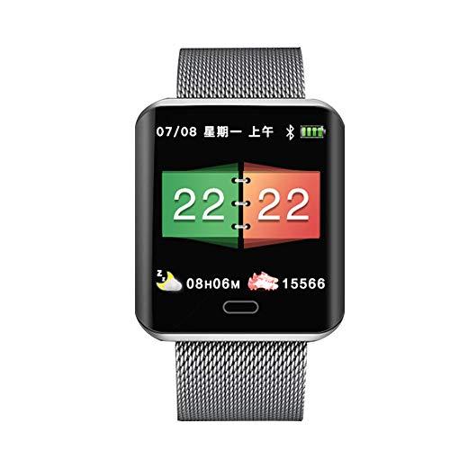 Ediand Fitness-Uhr mit Herzfrequenz-Messgerät Quadratischer Bildschirm, Aktivitäts-Tracker, Schlafmonitor, Schrittzähler Kalorien-Uhr-Metall-Smart-Uhr mit NFC