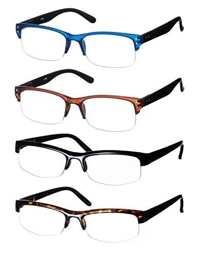 Lote de 4 Gafas de Lectura / Anteojos Forma Rectangular Montura en de Plástico Mate Semicírculo Estampado Leopardo y Uni + 1.5