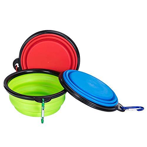 Plegable Viajes Silicona Gatos Perros Bowl Portable Pet Food Cuenco de Agua 3 Juegos, Alimentación a Través del Bebedero Portátil de Agua Potable con Gancho de Agua, Fácil de Llevar, Ahorrar Espacio.