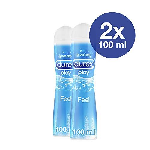 Gleitgel wasserbasiert für gefühlsechtes Empfinden Durex Play Feel 2 x 100 ml in praktischer Dosierflasche -