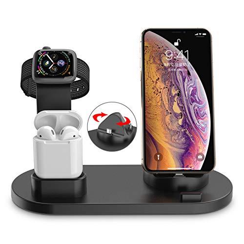 Soporte de Carga para Apple Watch, Muelles De Carga Teléfono Estación De Carga Soporte Cargador 3en 1 para Phone X XS MAX 8 Plus y Teléfonos Qi-Enabled AirPods e iWatch Series 4/3/2/1