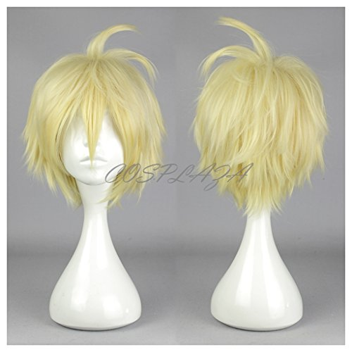 splay Wig Seraph of the End Mikaela Hyakuya Blond Gelb kurz Heat Resistant Party Haar (Mikaela Hyakuya Kostüm)