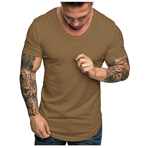 Tops Herren Sommer Shirts Basics Baumwolle Tank Tops Fitness Running Polo Bluse Strand Hemden Herbst 2019 Neu Qmber Slim Fit Kurzärmeliges einfarbiges T-Shirt mit Rundhalsausschnitt/AG,2XL -