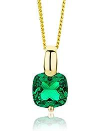 Miore Kette Damen, Schmuck Gelbgold,Halskette mit Smaragd grün Edelstein 9 Karat / 375 Gold 45 cm