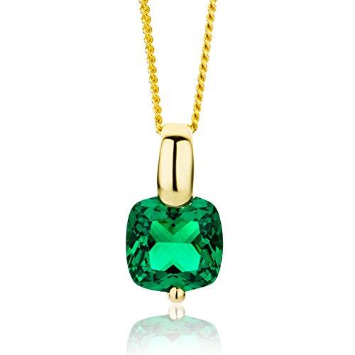 tte Damen Gelbgold 9 Karat / 375 Gold Kette Smaragd 45 cm ()
