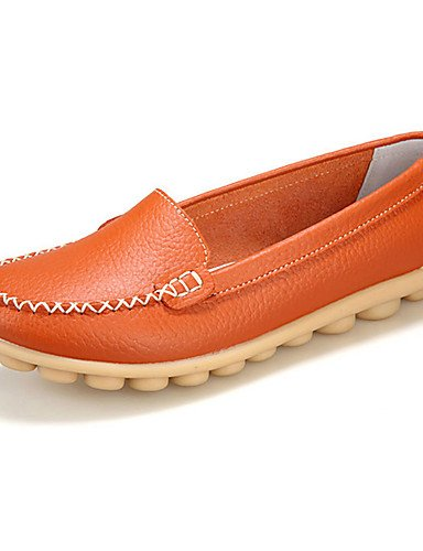 ZQ Scarpe Donna-Mocassini-Casual-Comoda-Piatto-Di pelle-Nero / Marrone / Giallo / Bianco / Arancione / Borgogna / Kaki , orange-us9 / eu40 / uk7 / cn41 , orange-us9 / eu40 / uk7 / cn41 yellow-us5.5 / eu36 / uk3.5 / cn35