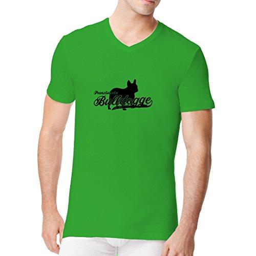 Im-Shirt - T-Shirt Hunde: Französische Bulldogge (schwarz) cooles Fun Men V-Neck - verschiedene Farben Kelly Green