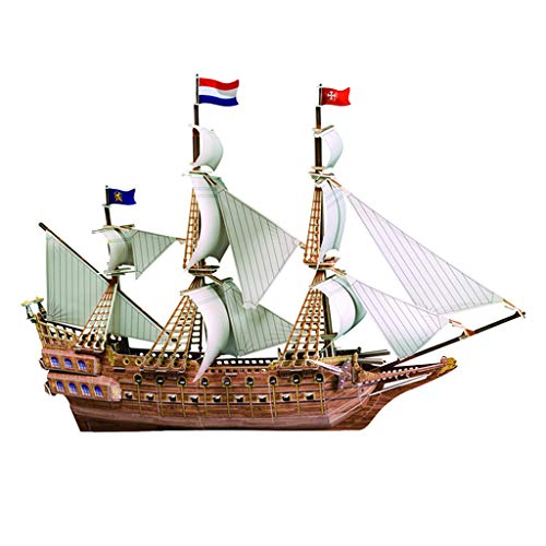 Homyl Weiß 3D Papier Puzzle Modellschiff Flaggschiff Segelschiff Schiff Modellbausatz zum Basteln