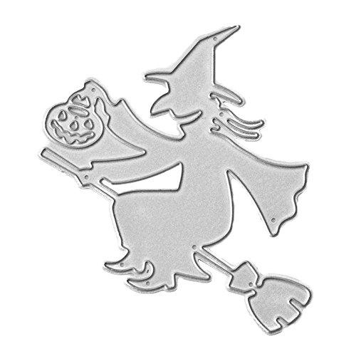 zmigrapddn Decor Formen, Halloween Hexe Kürbis Laterne Stahl Schablone, Metall für Scrapbooking Embossing DIY Handarbeit für Papier Karte machen, DIY Metall schneiden sterben, Karbonstahl, silber, Einheitsgröße