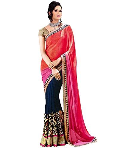 Angel Shoppe, sari da donna, effetto chiffon, con paillette e ricami, blusa inclusa Multicolor Taglia unica