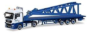 Herpa 307222-Vehículo, Man TGX XLX 6C Cama Plana de sillín Tren con Cabeza Pieza para LIEBHERR LR 1600/2Punta wasel