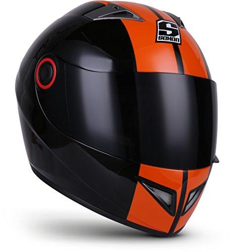 SOXON ST-666 Deluxe Night · Scooter Moto Urban Urbano Sport Cruiser Helmet Casco Integrale · ECE certificato · compresi parasole · compresi Sacchetto portacasco · Nero/Arancione · S (55-56cm)